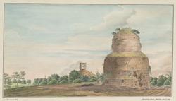 The stupa, Sarnath (U.P.). Copy after a sketch made in 1814